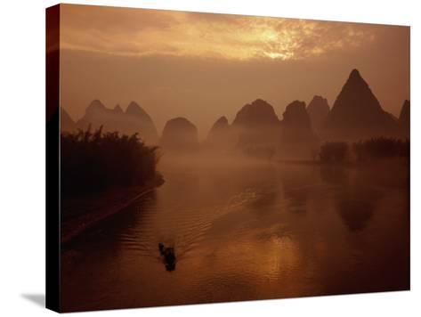 Sunrise Over River Li, Yangshuo, Guangxi, China-Diana Mayfield-Stretched Canvas Print