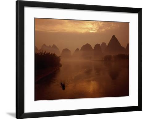 Sunrise Over River Li, Yangshuo, Guangxi, China-Diana Mayfield-Framed Art Print