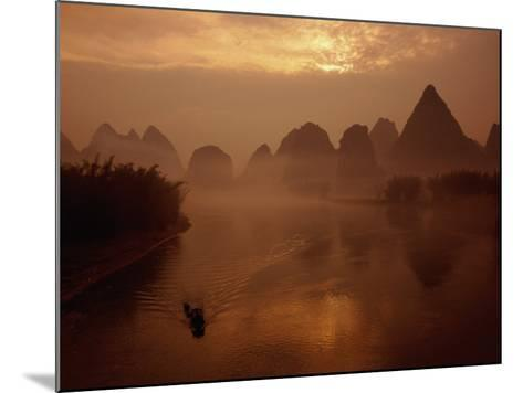 Sunrise Over River Li, Yangshuo, Guangxi, China-Diana Mayfield-Mounted Photographic Print