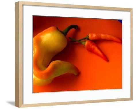Chilli Peppers in Varying Shades on an Orange Plate, Australia-John Hay-Framed Art Print