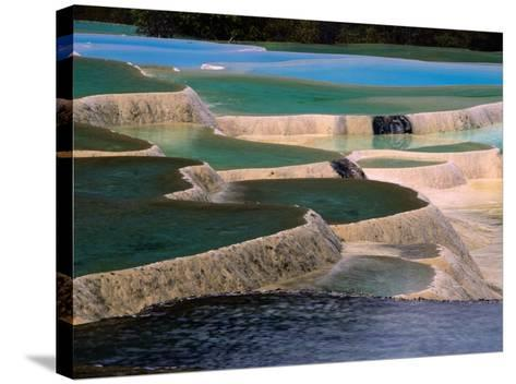 Naturally Formed Limestone Pools in Terraced Formation, Huanglong, Sichuan, China-Keren Su-Stretched Canvas Print