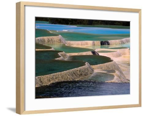 Naturally Formed Limestone Pools in Terraced Formation, Huanglong, Sichuan, China-Keren Su-Framed Art Print
