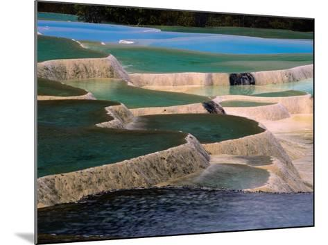 Naturally Formed Limestone Pools in Terraced Formation, Huanglong, Sichuan, China-Keren Su-Mounted Photographic Print