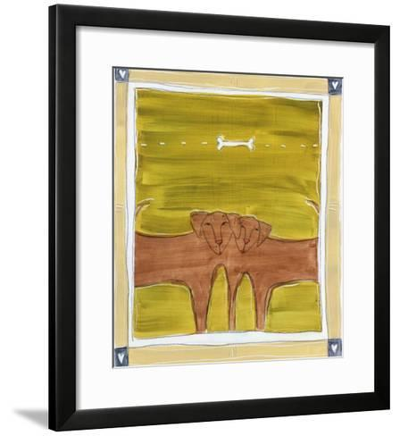 Two Dogs with Bone Overhead-Heather Ramsey-Framed Art Print