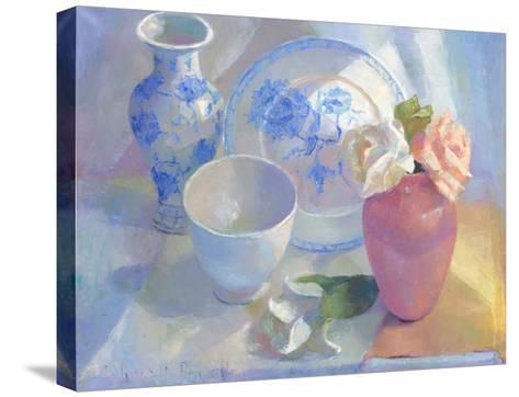 Porcelain Vase & Rose-Carolyn Biggio-Stretched Canvas Print