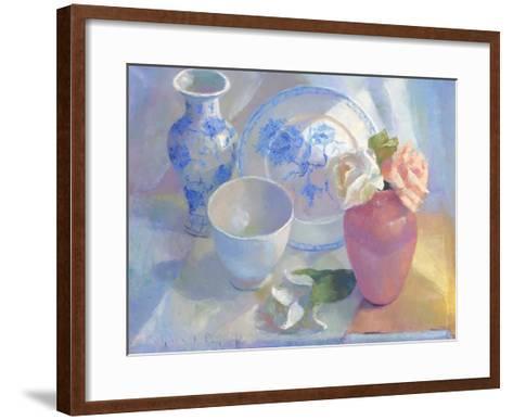 Porcelain Vase & Rose-Carolyn Biggio-Framed Art Print