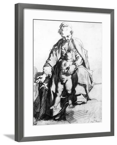 Drawing of a Woman with Child, the Uffizi Gallery-Francesco Vanni-Framed Art Print