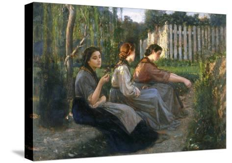 Young Peasant Women Talking, Galleria d'Arte Moderna, Palazzo Pitti, Florence-Cristiano Banti-Stretched Canvas Print