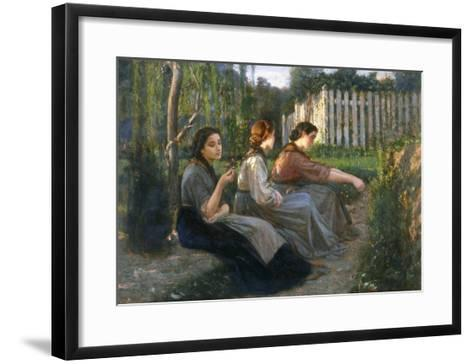 Young Peasant Women Talking, Galleria d'Arte Moderna, Palazzo Pitti, Florence-Cristiano Banti-Framed Art Print