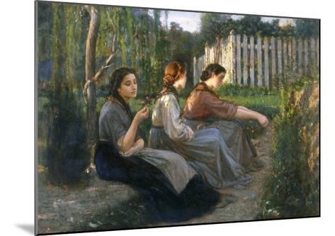 Young Peasant Women Talking, Galleria d'Arte Moderna, Palazzo Pitti, Florence-Cristiano Banti-Mounted Giclee Print