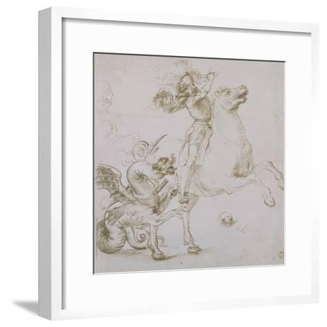 St. George and the Dragon, Drawing, Gabinetto Dei Disegni E Delle Stampe, Uffizi Gallery-Raphael-Framed Art Print