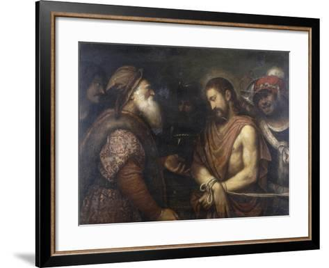 Christ Before Caiaphas, Conserved at the Galleria Estense in Modena-Niccolo Frangipane-Framed Art Print