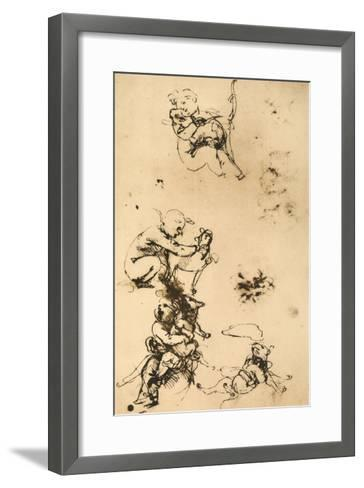 Some Studies for the Madonna with the Cat Pen Drawing on White Paper-Leonardo da Vinci-Framed Art Print