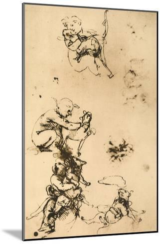 Some Studies for the Madonna with the Cat Pen Drawing on White Paper-Leonardo da Vinci-Mounted Giclee Print