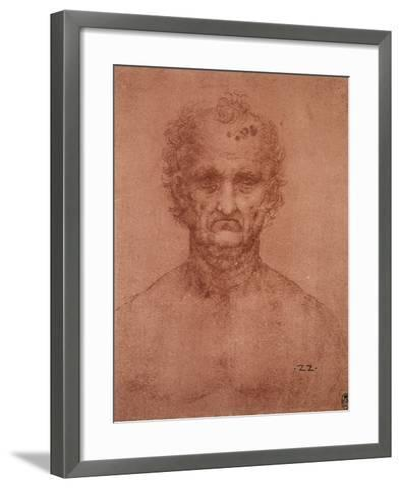 Head of an Old Man, Drawing, Royal Library, Windsor-Leonardo da Vinci-Framed Art Print