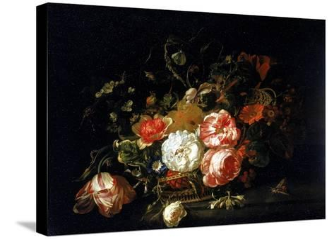 Basket of Flowers, Uffizi Gallery, Florence-Rachel Ruysch-Stretched Canvas Print
