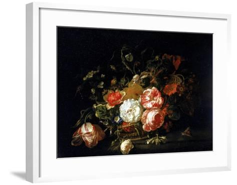 Basket of Flowers, Uffizi Gallery, Florence-Rachel Ruysch-Framed Art Print