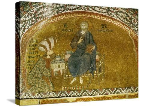 Christ Enthroned; Grand Logothete Theodore Metochites Presents the Model of the Hora Church--Stretched Canvas Print