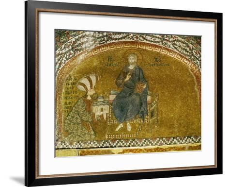 Christ Enthroned; Grand Logothete Theodore Metochites Presents the Model of the Hora Church--Framed Art Print