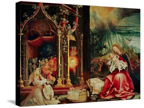 Concert of the Angels, the Madonna in Prayer, and Nativity, from the Isenheim Altarpiece, 1515-Matthias Gr?newald-Stretched Canvas Print