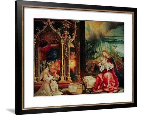Concert of the Angels, the Madonna in Prayer, and Nativity, from the Isenheim Altarpiece, 1515-Matthias Gr?newald-Framed Art Print