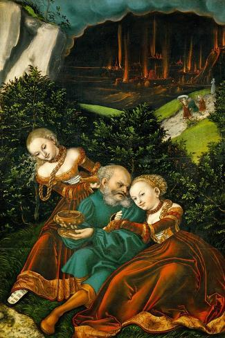 Lot and His Daughters, 1528-Lucas Cranach the Elder-Stretched Canvas Print