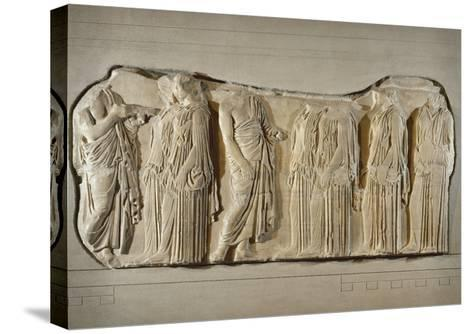 Fragment of the Frieze of the Panatheneans: The Ergastine--Stretched Canvas Print