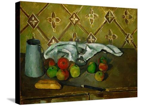 Fruits, Napkin and Milk Jar-Paul C?zanne-Stretched Canvas Print