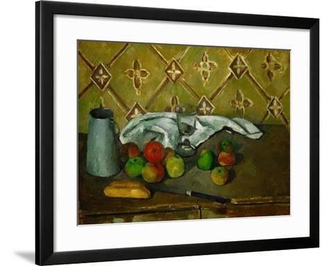 Fruits, Napkin and Milk Jar-Paul C?zanne-Framed Art Print