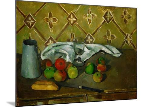 Fruits, Napkin and Milk Jar-Paul C?zanne-Mounted Giclee Print