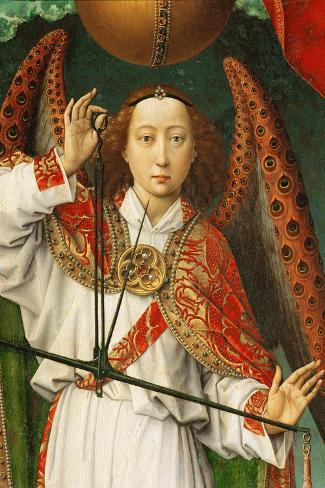 Archangel Michael Weighing Souls, Close-Up of Angel-Rogier van der Weyden-Stretched Canvas Print