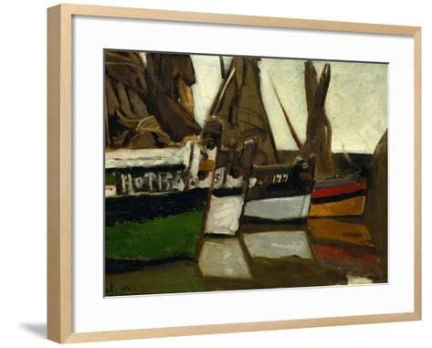 Fishing Boats, Honfleur, 1866-Claude Monet-Framed Art Print