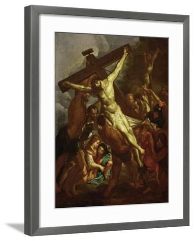 The Raising of the Cross, Sketch for Part of the Ceiling of the Jesuit Church in Antwerp, 1620-1621-Peter Paul Rubens-Framed Art Print