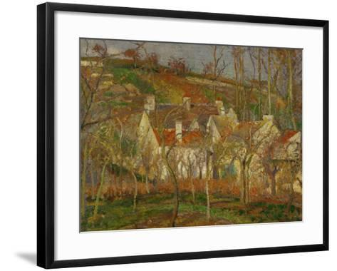 Red Roofs, a Village Corner, Winter, 1877-Camille Pissarro-Framed Art Print