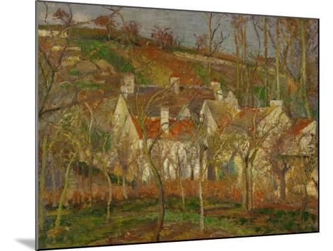 Red Roofs, a Village Corner, Winter, 1877-Camille Pissarro-Mounted Giclee Print