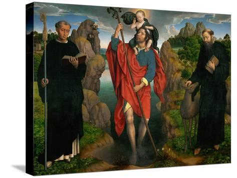 Saint Christopher Carrying the Christ Child, Flanked by Saints Maurus and Gilles-Hans Memling-Stretched Canvas Print