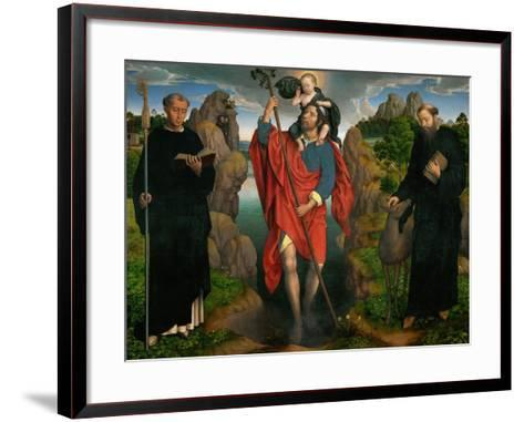Saint Christopher Carrying the Christ Child, Flanked by Saints Maurus and Gilles-Hans Memling-Framed Art Print