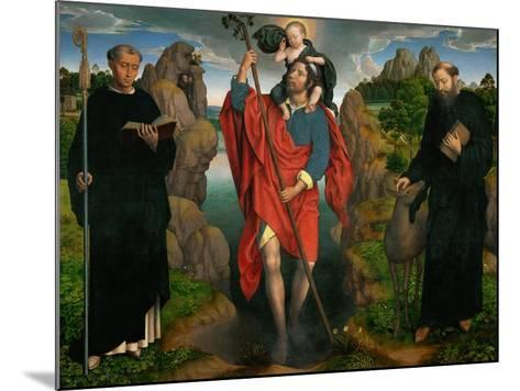 Saint Christopher Carrying the Christ Child, Flanked by Saints Maurus and Gilles-Hans Memling-Mounted Giclee Print