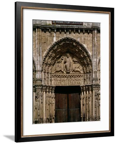 The West or Royal Portal, Center: Christ on the Book of Revelation, and Four Beasts, Around 1145--Framed Art Print