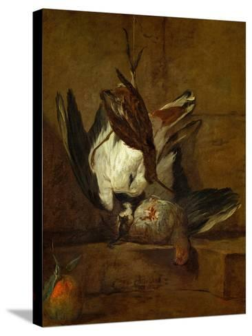 Huppoe, Partridge, Woodcock, and Seville Orange, 1732-Jean-Baptiste Simeon Chardin-Stretched Canvas Print