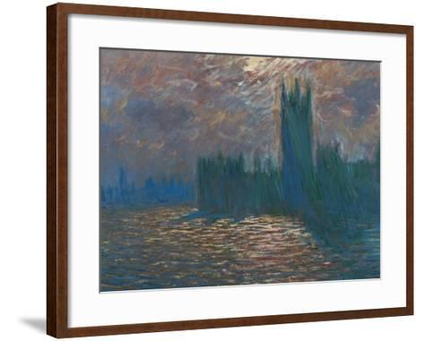 London, the Parliament; Reflections on the Thames River, 1899-1901-Claude Monet-Framed Art Print
