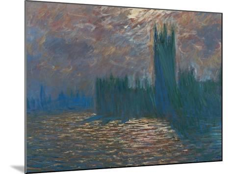 London, the Parliament; Reflections on the Thames River, 1899-1901-Claude Monet-Mounted Giclee Print