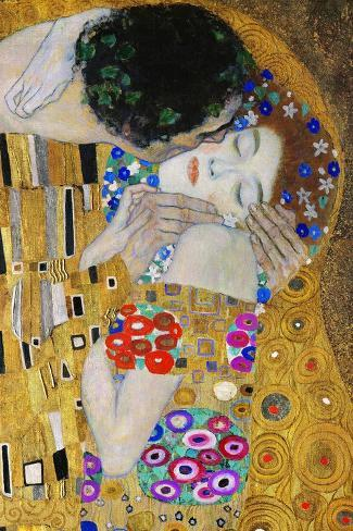 The Kiss, Der Kuss, Close-Up of Heads-Gustav Klimt-Stretched Canvas Print