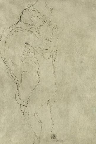 Lovers, Black Crayon (1908)-Gustav Klimt-Stretched Canvas Print
