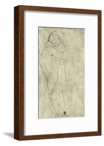 Lovers, Black Crayon (1908)-Gustav Klimt-Framed Art Print