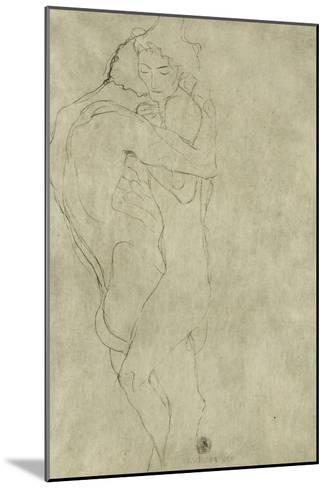 Lovers, Black Crayon (1908)-Gustav Klimt-Mounted Giclee Print