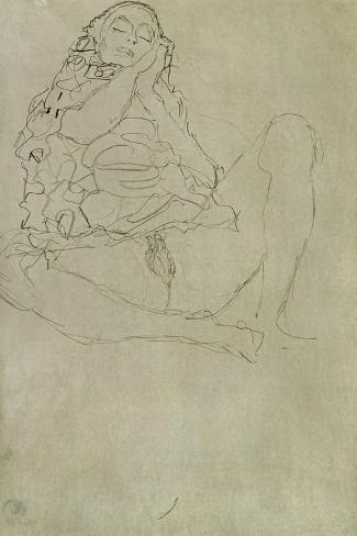 Sitting Half-Nude with Closed Eyes-Gustav Klimt-Stretched Canvas Print