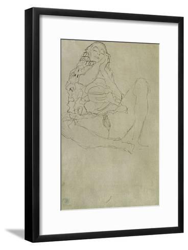 Sitting Half-Nude with Closed Eyes-Gustav Klimt-Framed Art Print