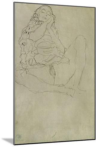 Sitting Half-Nude with Closed Eyes-Gustav Klimt-Mounted Giclee Print