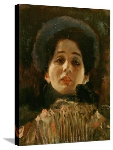 Portrait En Face of a Woman-Gustav Klimt-Stretched Canvas Print